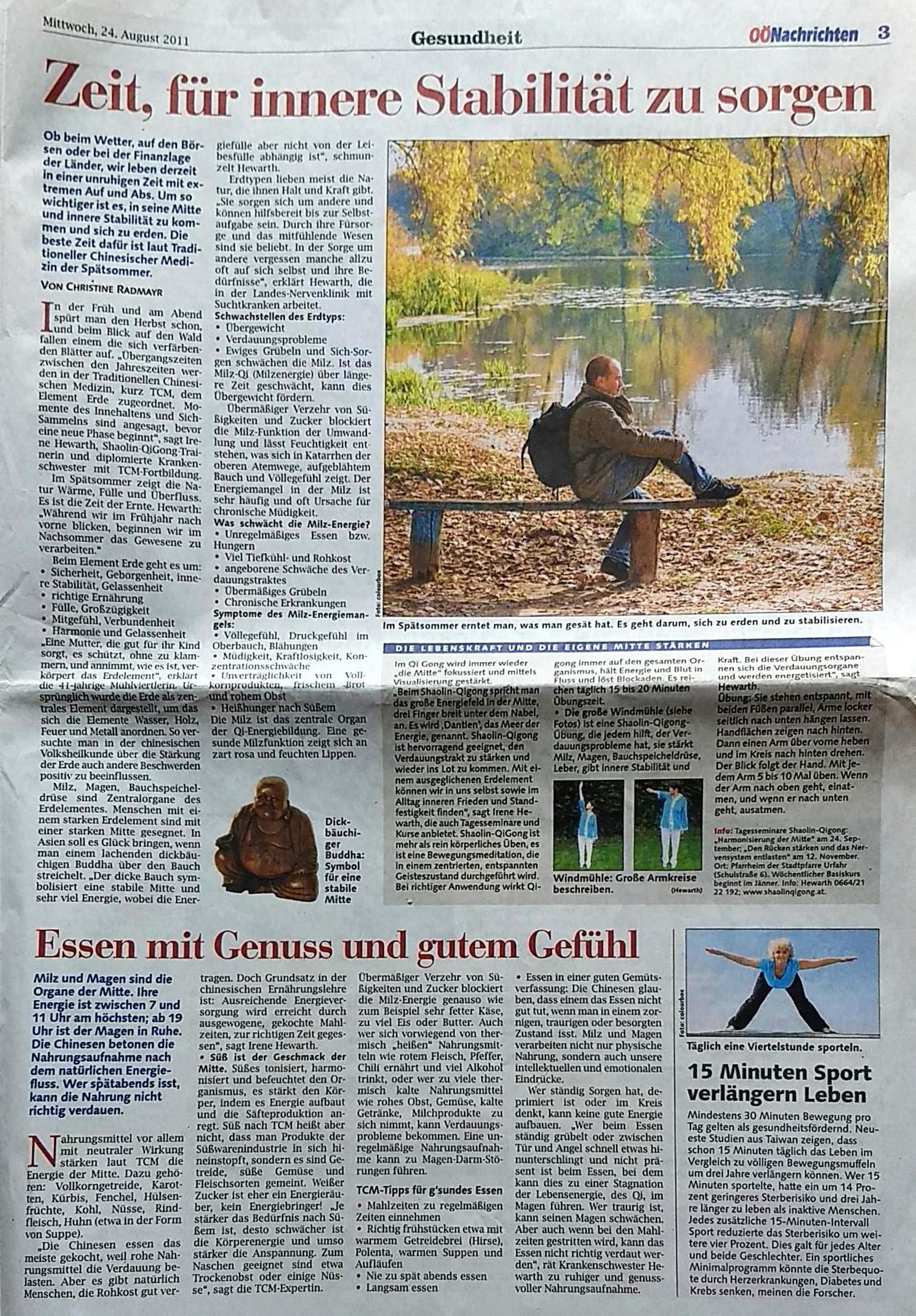 Zeitungsartikel Oberösterreichische Nachrichten vom 24.August 2011