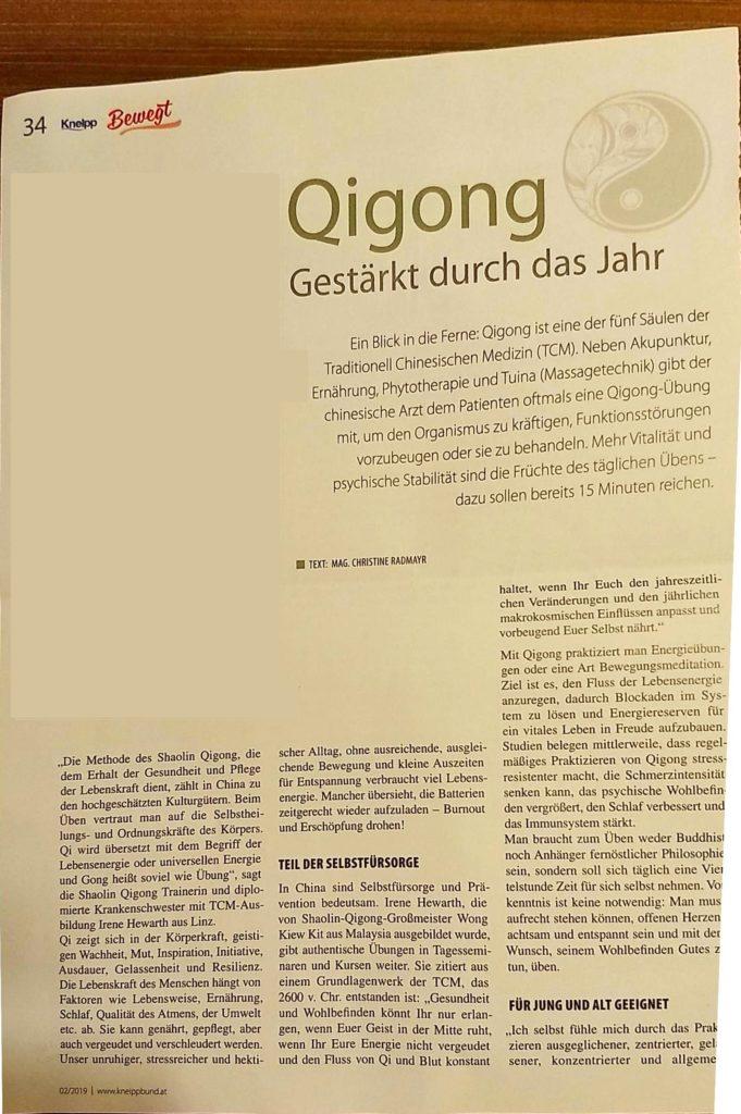 Qigong Linz Bericht in der Kneipp Zeitung 02/2019 Teil 1